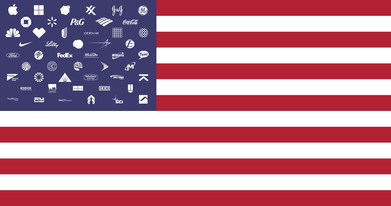 Bei der Flagge der USA ist die Vergabe der Logos nach Bundesstaaten ...